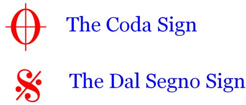 Music Navigation Symbols - D.S. and Coda
