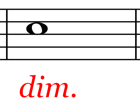 Music Notation - Diminished Mark