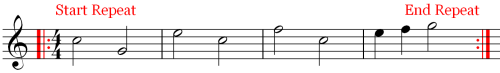 Four Measures with Music Marks