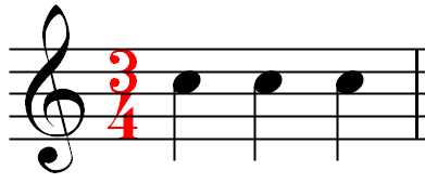 A measure of music using the 3/4 time signature
