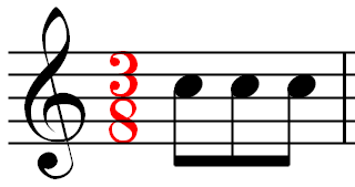 A measure of music using the 3/8 time signature