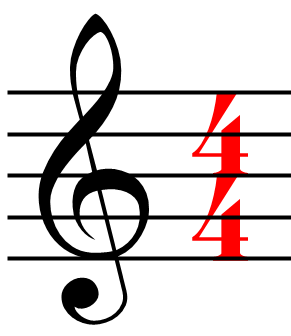 Quarter note gets one beat.