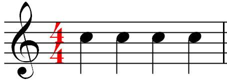 A measure of music using the 4/4 time signature