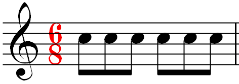 A measure of music using the 6/8 time signature