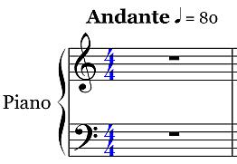 Andante 80 Tempo Symbol - Piano Staff