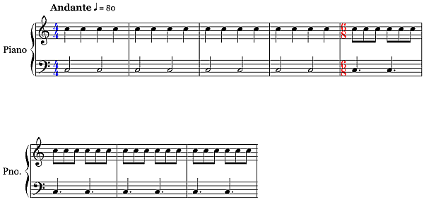 Using different time signature symbols