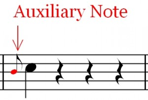 Grace Note - Graphic description of the auxiliary note.